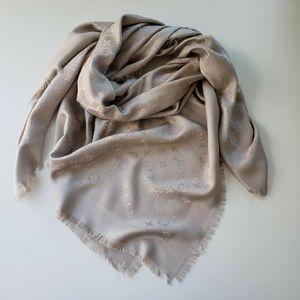 Louis Vuitton Monogram Greige Silk Scarf Shawl